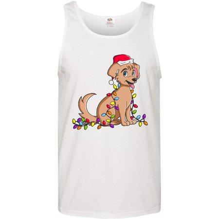 Dog with Santa Hat and Christmas Lights Men's Tank -