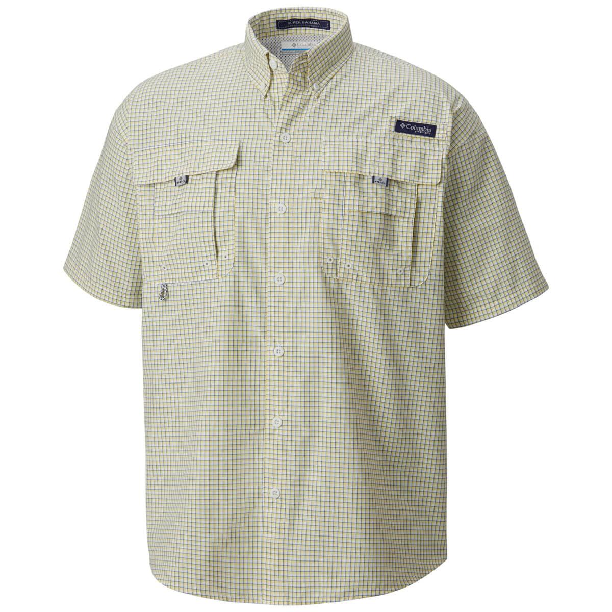 Breathable UV Protection Columbia Mens PFG Super Bahama Short Sleeve Shirt