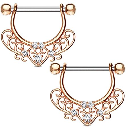 MoBody One Pair Surgical Steel Filigree Heart Dangle Nipple Ring CZ Jeweled Drop Nipple Jewelry 14G (1.6mm) (Rose Gold-Tone)