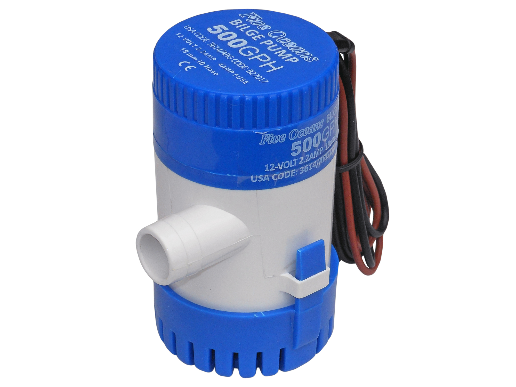 Marine Electric Bilge Pump 12v. 500 gph for Boat, Caravan Five Oceans BC 3614 by Seaflo by