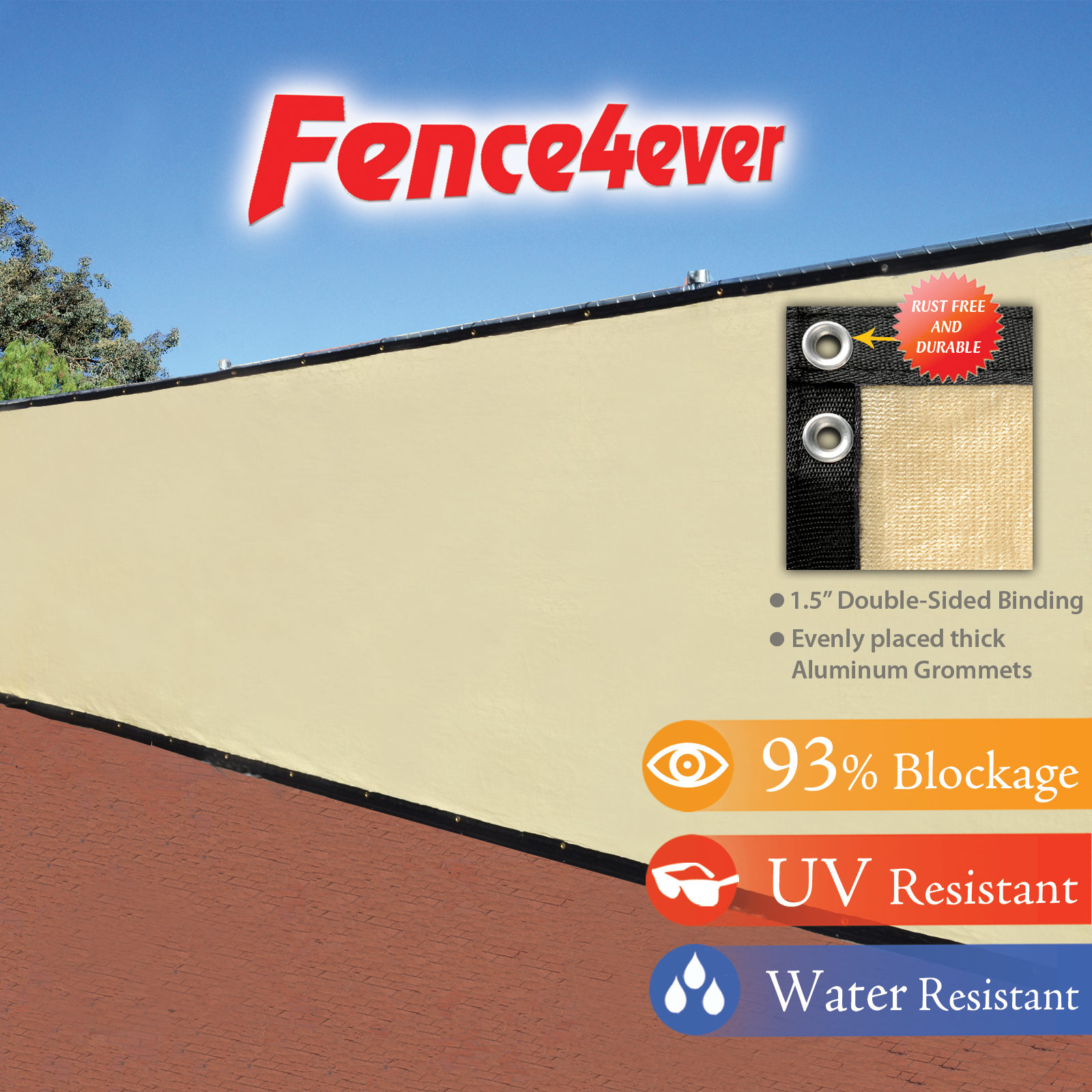 Fence4ever Tan Beige 6' x 50' Fence Privacy Screen Windscreen Shade Cover Mesh Fabric Tarp