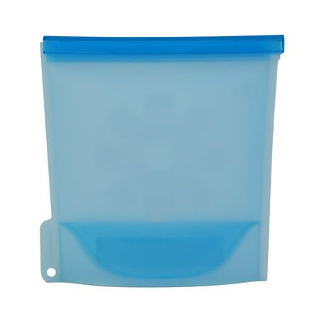 CooCoo Lock Reusable Premium Silicone Storage, Frozen food in Blue, 1 liter