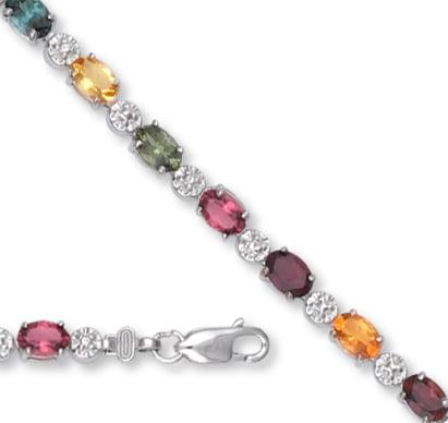White Gold Mixed Tourmaline Bracelet by