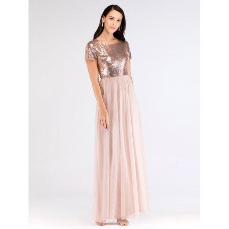 b421415a529e9 Ever-pretty - Ever-Pretty Women's Short Sleeve Sequins Long Formal Evening  Party Wedding Guest Pregant Bridesmaid Dresses for Women 07610 S -  Walmart.com