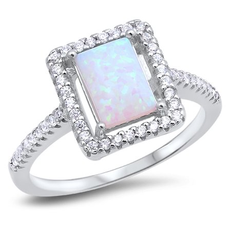 Clear CZ Halo White Simulated Opal Rectangle Ring ( Sizes 5 6 7 8 9 10 ) .925 Sterling Silver Band Rings (Size 10)