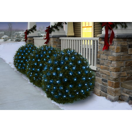 Holiday Time Net Light Set Green Wire Blue Bulbs 150 Count