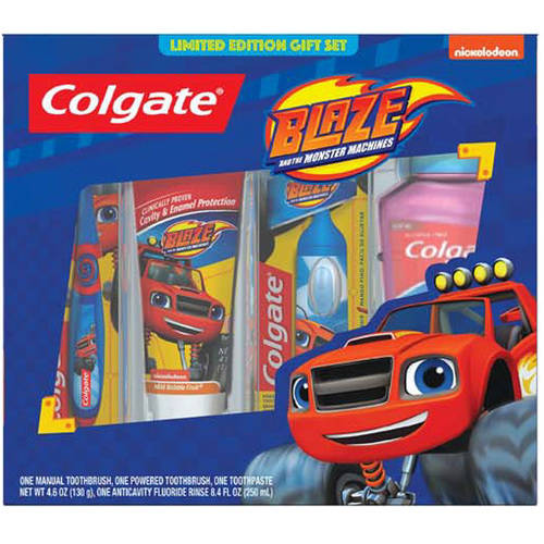 Colgate Kid's Blaze 4 Piece Oral Care Kit, containing Power Toothbrush, 4.6oz Toothpaste, Manual Toothbrush, and 250ml Mouthwash