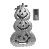 Metal Led Stacked Pumpkin -Silver
