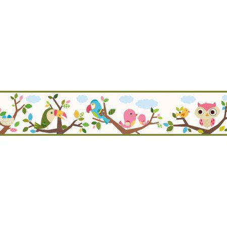 Brewster TOT46362B Island Beat White Forest Friends Trail Border Wallpaper