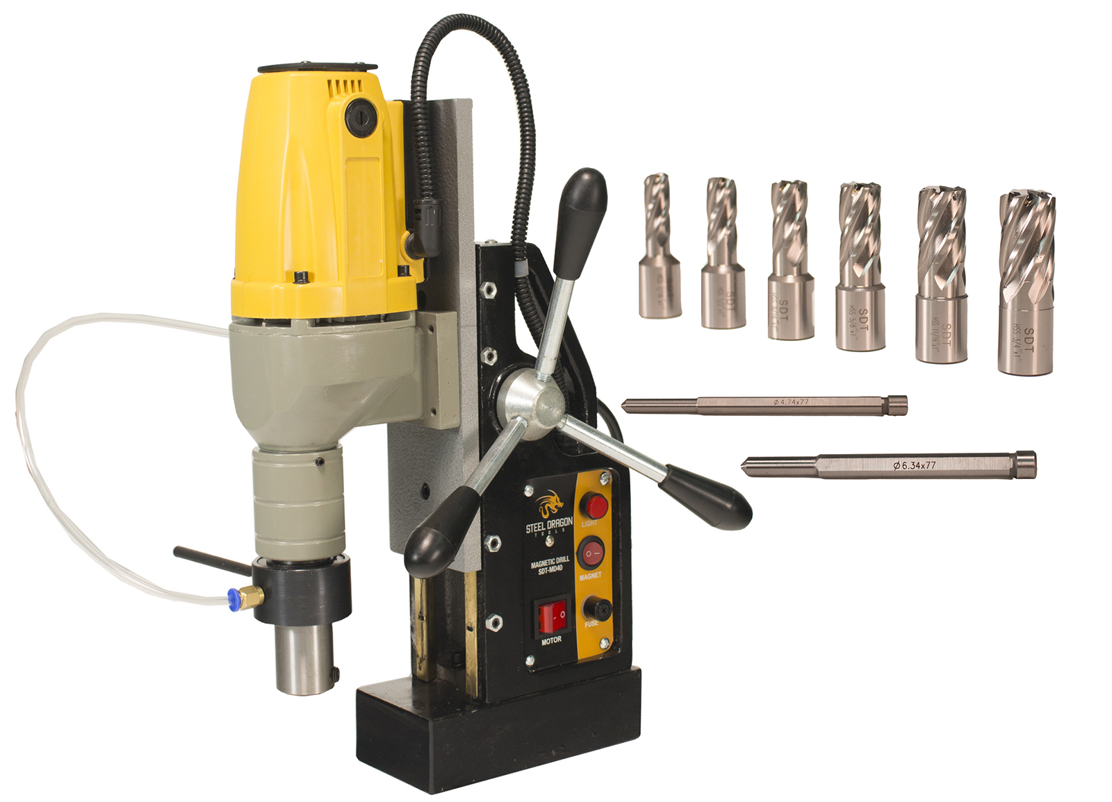 "Steel Dragon Tools MD40 Magnetic Drill Press with 7pc 1"" Small HSS Cutter Kit by Steel Dragon Tools"