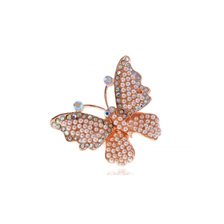 Crystal Aurore Boreale Rhinestone Pearl Bead Encrusted Butterfly Bug Adj Ring