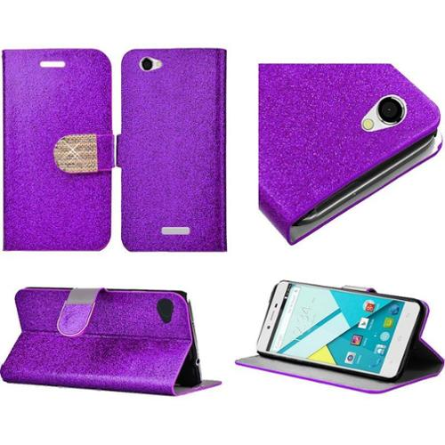 Insten Folio Leather Wallet Glitter Case with Stand & Card slot & Diamond For BLU Studio Energy - Purple/Gold