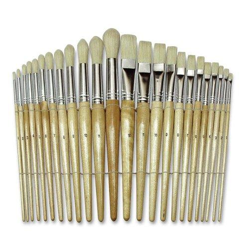 Chenillekraft Round Wood Paint Brush Set - 24 Brush[es] - Nickel Plated Ferrule - Wood Handle (CKC5172)