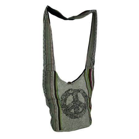 Kathmandu Imports - Mod Peace Sign Tribal Stripe Boho Cotton Crossbody Bag - Gray - Size Small