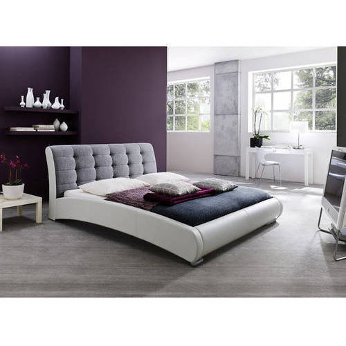 Baxton Studio Guerin Contemporary White Faux Leather Grey Fabric 2-Tone Upholstered Grid Tufted Queen-Size Platform Bed