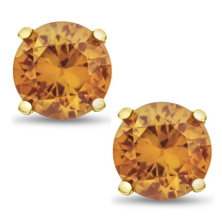 Genuine Golden Citrine Round 3mm stud earrings, Gold Plated Sterling Silver Basket Set. Approx. 0.25 ct
