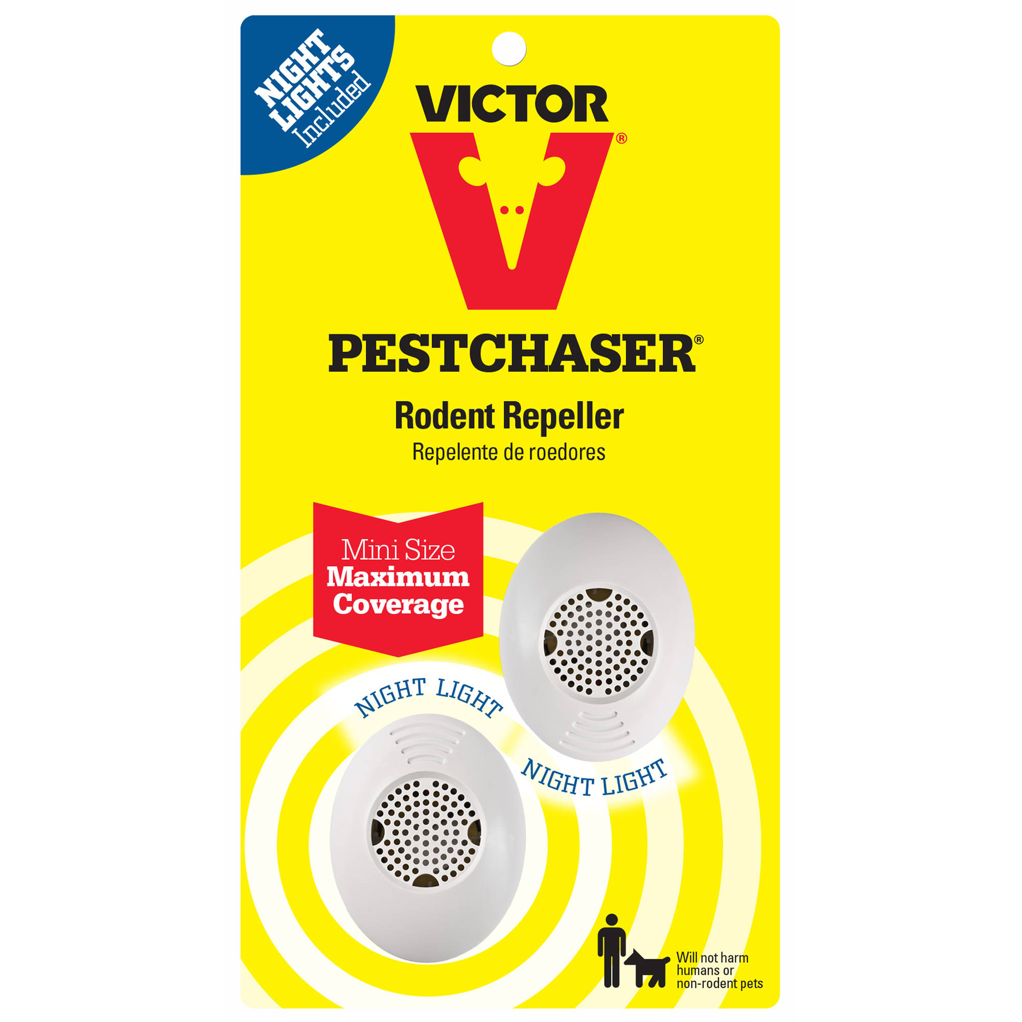 Victor Mini PestChaser Rodent Repeller with Nightlight, 2-Pack