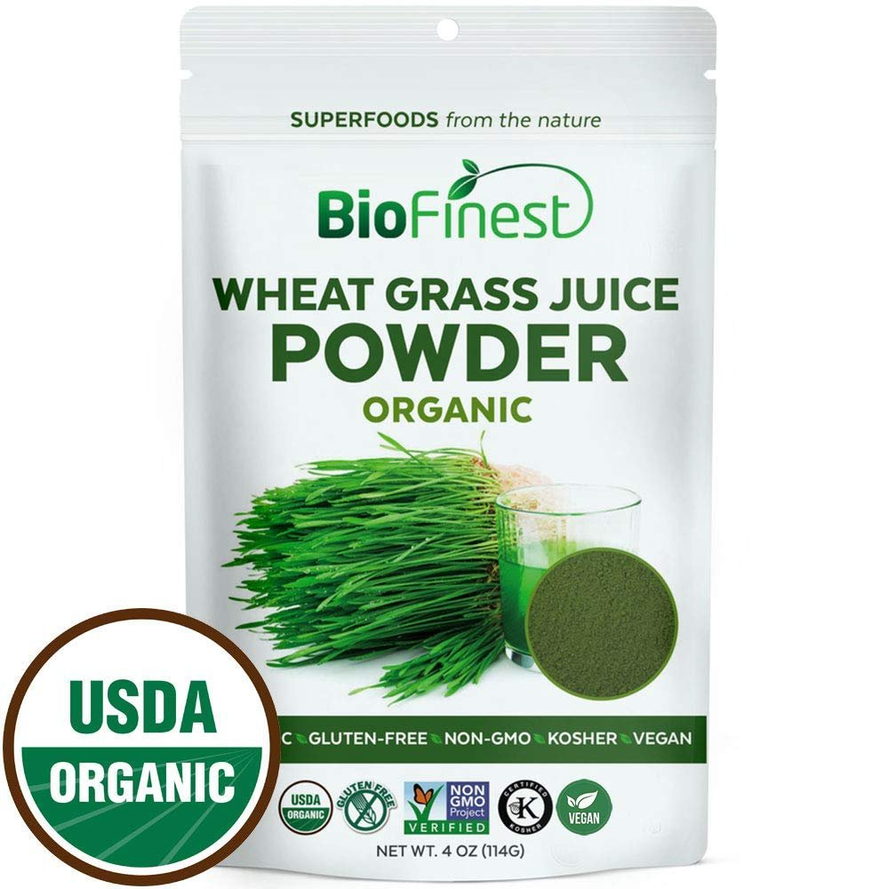 Biofinest Wheat Grass Juice Powder - 100% Pure Freeze-Dried Vitamin Chlorophyll Superfood - USDA Certified Organic Raw Vegan Non-GMO - Boost Digestion Detox Energy - For Smoothie Beverage Blend (4 oz)