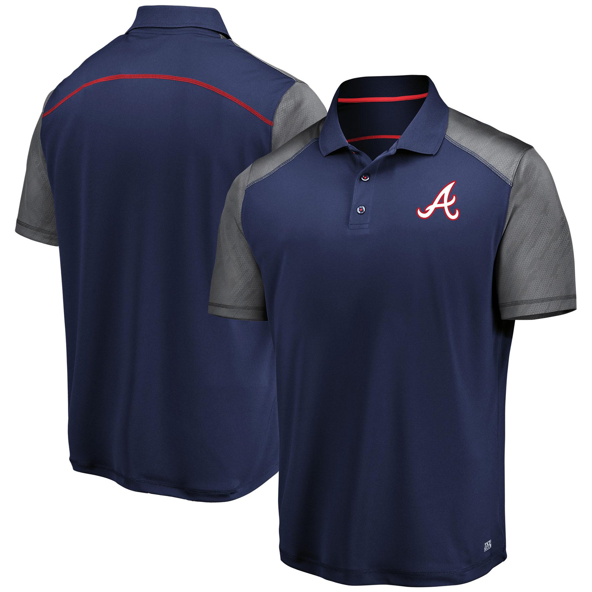 Men's Majestic Navy/Gray Atlanta Braves Cool Base Polo