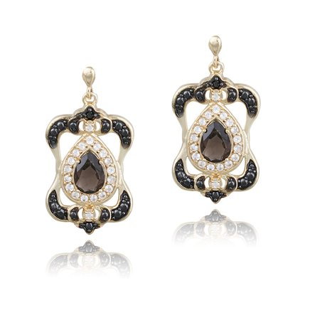 Gold Over Silver Smokey Quartz, White Topaz and Diamond Accent Earrings Cushion Smokey Quartz Earring