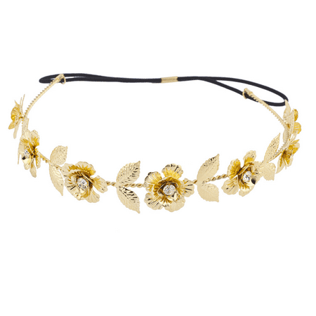 Lux Accessories Gold Tone and Crystal Stone Goddess Flower Leaf Crown Headband (Flower Headband)