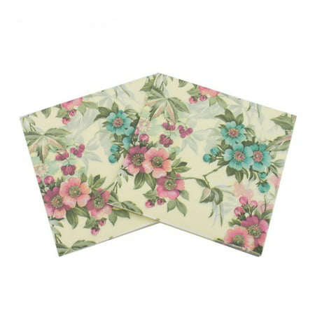 20Pieces/Pack Printed Flower Paper Napkins Tissue Fabric Decoupage Napkin For Wedding & Party Decoration
