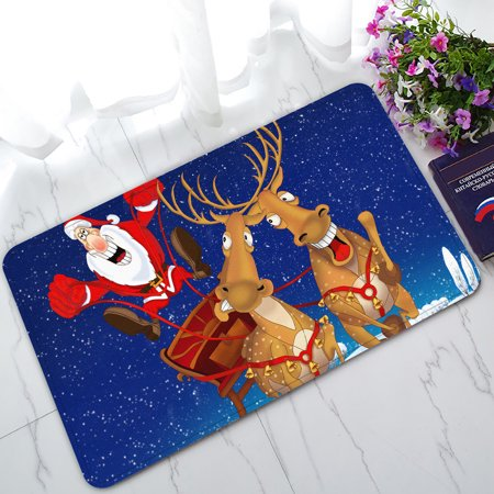 YKCG Funny Christmas Santa Claus Reindeer Colorful Sky Light Snow Covered Village Doormat Indoor/Outdoor/Bathroom Doormat 30x18