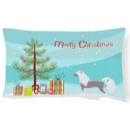 Carolines Treasures BB2961PW1216 Chinese Crested Merry Christmas Tree Canvas Fabric Decorative Pillow - image 1 de 1