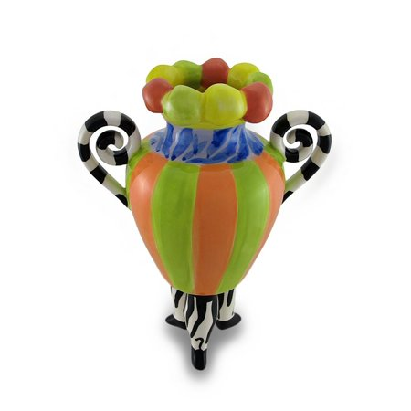 10 Inch Rally Stripes - Ceramic Vases 3Rg4832-7 Colorful 3-Legged Striped Jester Vase 10 In. 4.75 X 10 X 4.75 Inches Multicolored, Designed by Erich Emmenegger By Erich Emmenegger