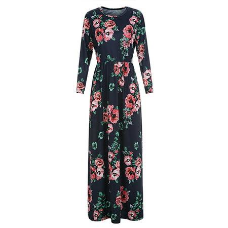 Long Sleeve Flower Print Women Long Dress Spring Autumn Casual Vestidoes Club - Football Casual Wear
