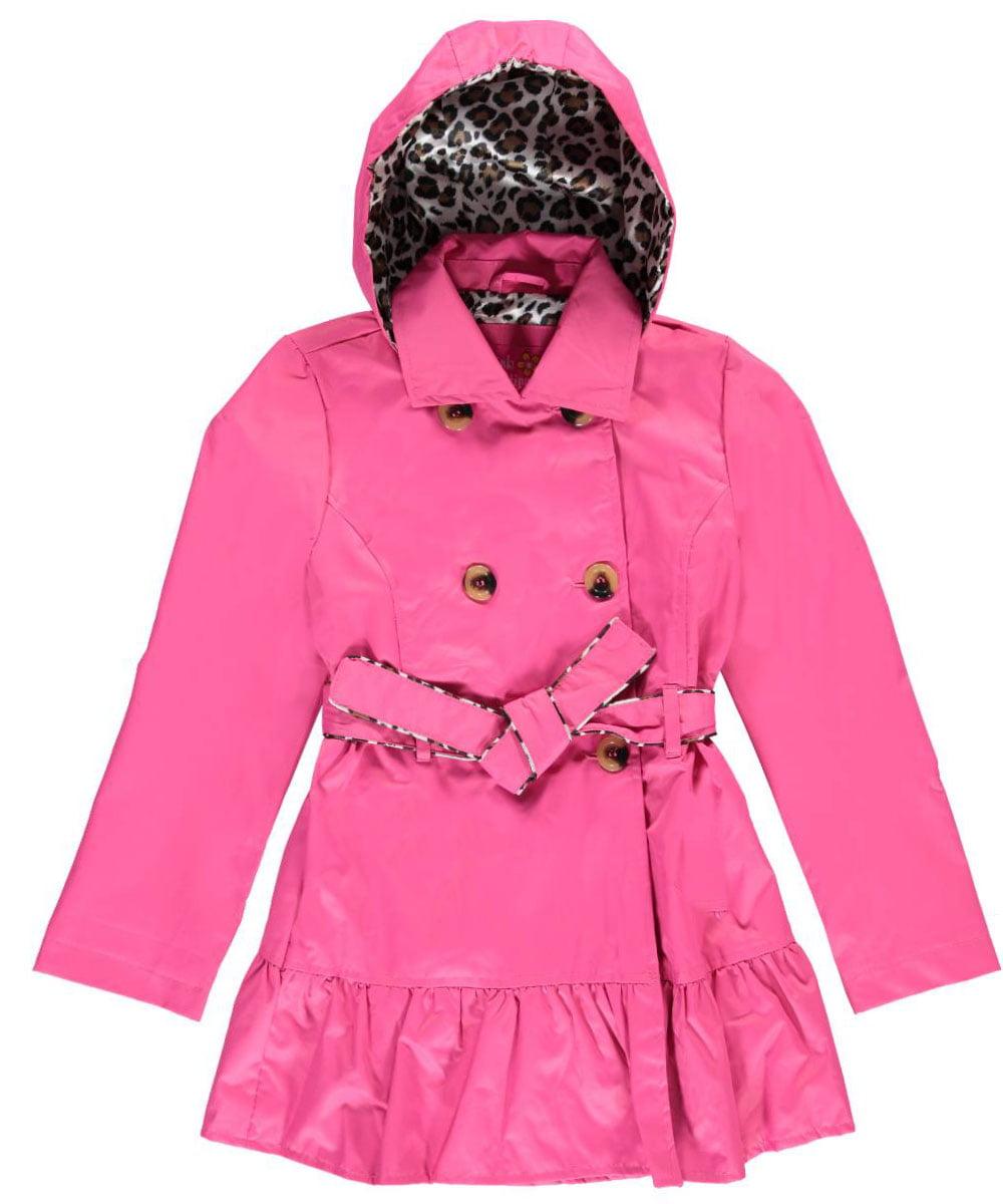 "Pink Platinum Little Girls' ""Feline Trimmed"" Belted Trench Coat (Sizes 4 - 6X)"