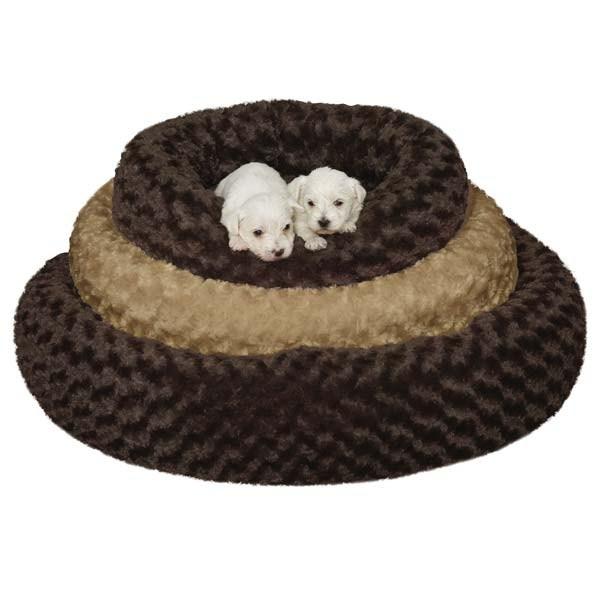 Slumber Pet Swirl Plush Donut Bed 32in Brn