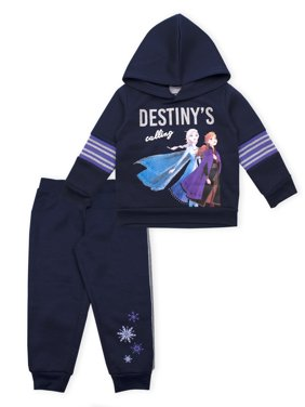 Disney Frozen 2 Anna Elsa Toddler Girl Pullover Hoodie & Glitter Taped Jogger Pants, 2pc Outfit Set