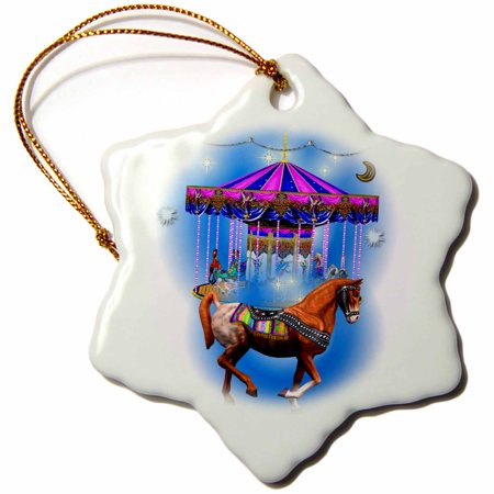 3dRose Beautiful decorated horse and blue carousel art, Snowflake Ornament, Porcelain, 3-inch