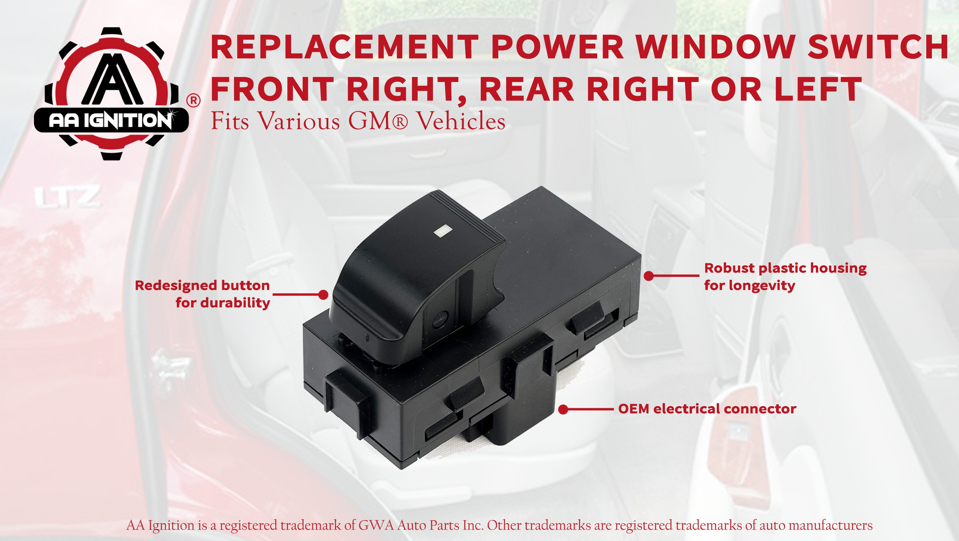 Rear for Select Buick//Chevrolet//GMC Models Dorman 901-149 Power Window Switch