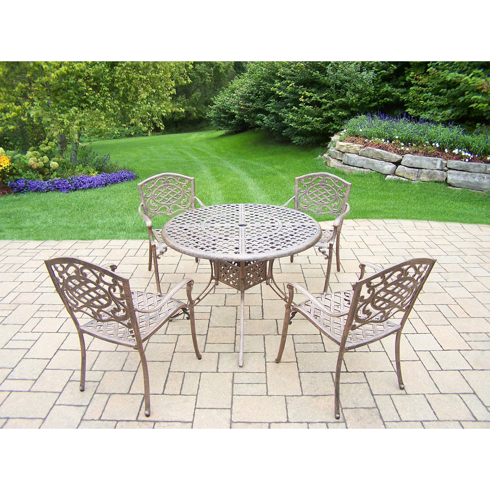 Oakland Living Elite Mississippi Aluminum 5 Piece Round Patio Dining Set