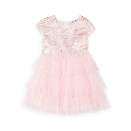 Metallic Jacquard and Glitter Tulle Dress (Little Girls) (Tulle Girls Dresses)