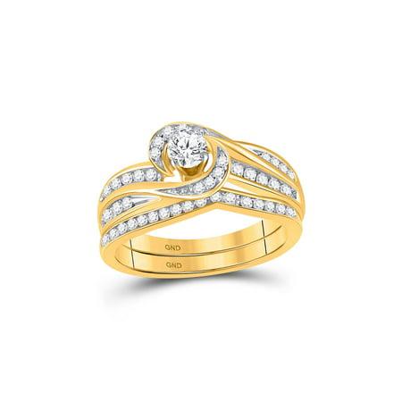 10k Yellow Gold Womens Round Diamond Swirl Bridal Wedding Engagement Ring Band Set 1/2 Cttw