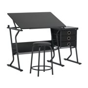 "SD Alpha Craft, Drawing, Art Desk with 35.5""W x 23.5""D Adjustable Top and Stool Set in Black"