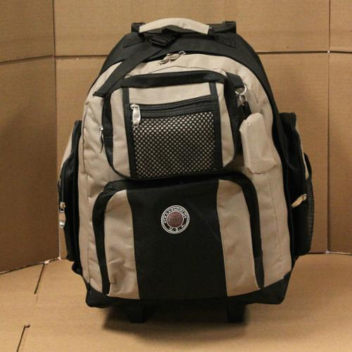 "18"" Wheeled Backpack Roomy Rolling Book Bag W/ Handle Carry on Luggage Back Pack Khaki One Size"
