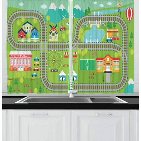 Kid's Activity Curtains 2 Panels Set, Train Tracks with Colorful Town School City Mall and Amusement Park Fair, Window Drapes for Living Room Bedroom, 55W X 39L Inches, Multicolor, by (Fair Lakes Mall)