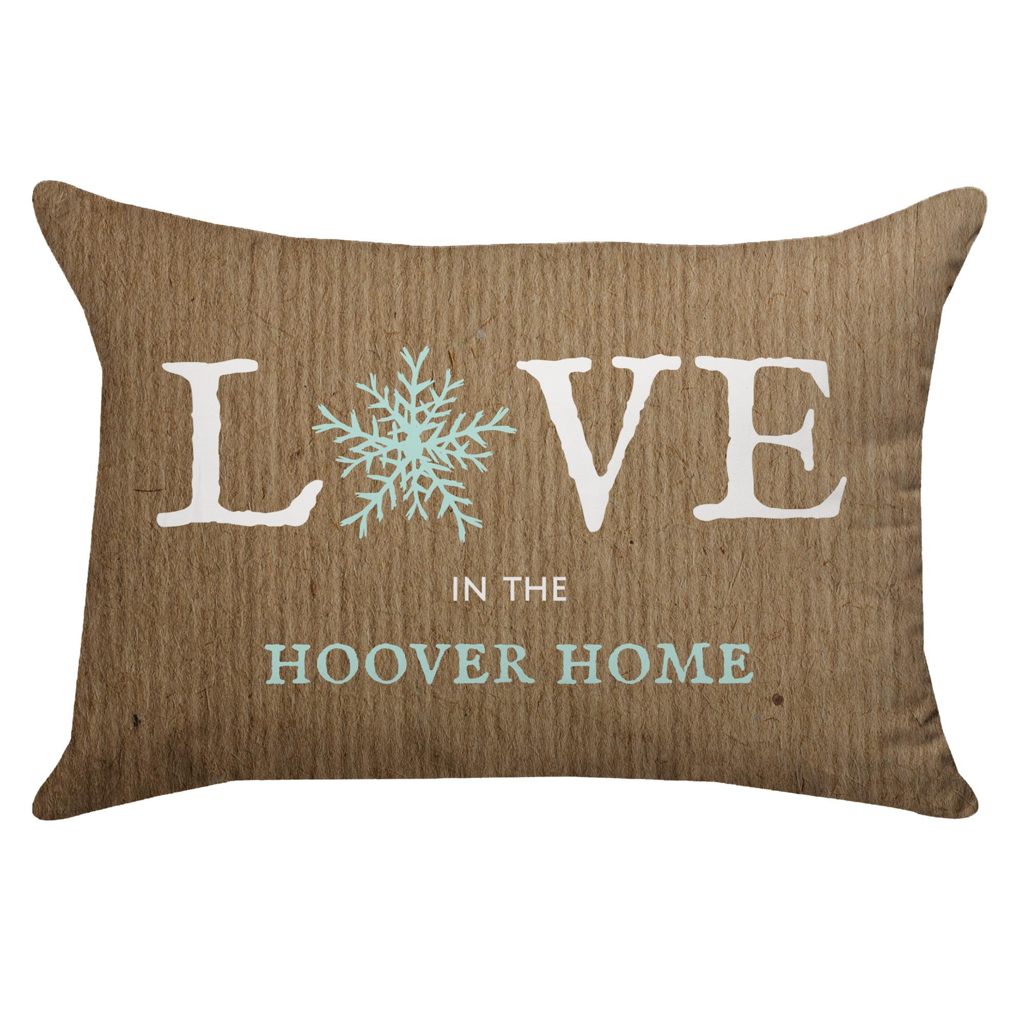 Personalized Snowflake Poplin Rectangular Throw Pillow in Burlap