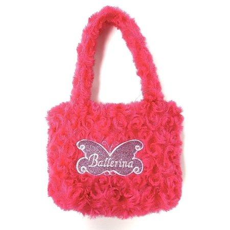 - Girls Hot Pink Fuzzy Velvet Glitter Butterfly Ballerina Applique Purse