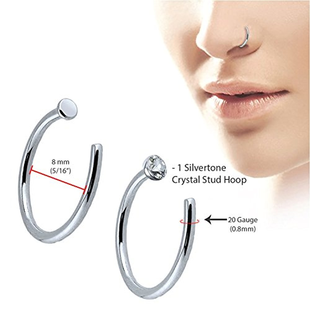 Body Candy Solid Platinum 1 5mm Ball Right Nose Stud Screw Ring 18