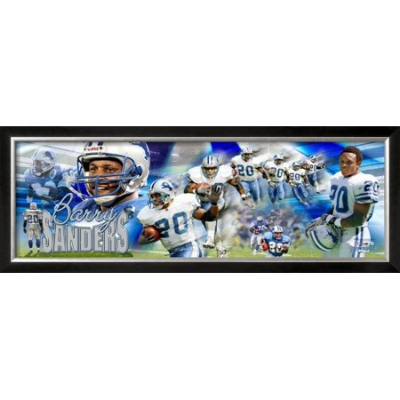 Barry Sanders Framed Photographic Print Wall Art  - 38.5x14.5 (Barry Sanders Wall)