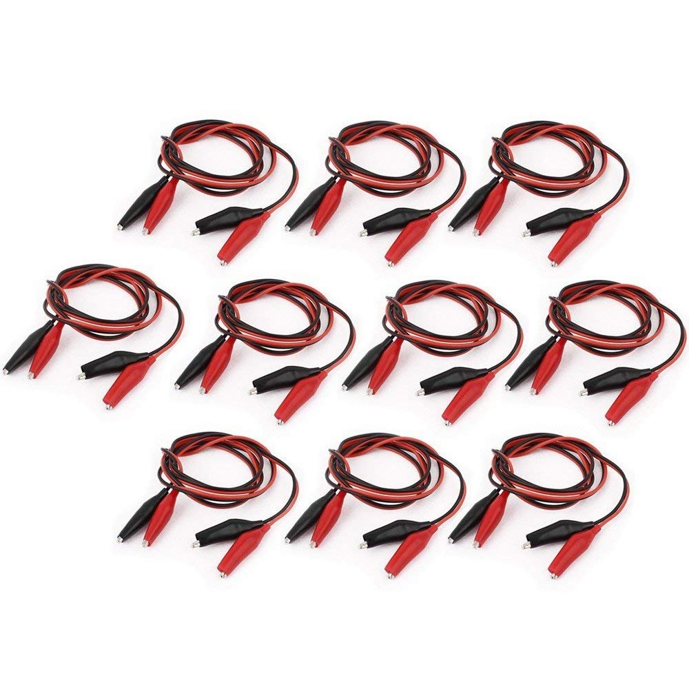 """Wideskall® 20 Pcs 20"""" inch Double Ended Alligator Clips Test Lead Jumper Wire (Red / Black)"""