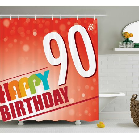 90th Birthday Decorations Shower Curtain Happy Greeting On Red Bokeh Background Retro Style Image