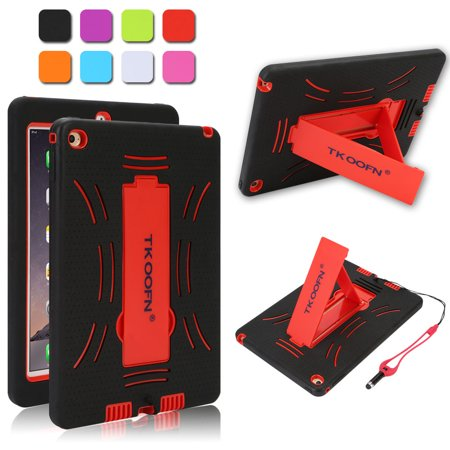 Heavy Duty Silicon Defender Shell Military Shockproof Bumper Case Cover with Built in Stand for Apple iPad Mini 1 2 3 + Screen Protector + Stylus + Cleaning Cloth Red ()