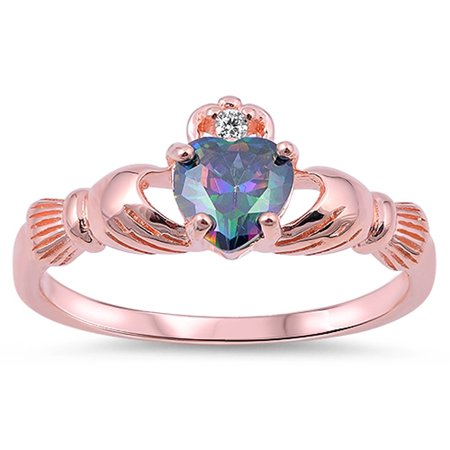 CHOOSE YOUR COLOR Rose Gold-Tone Rainbow Simulated Topaz Heart Claddagh Sterling Silver Ring
