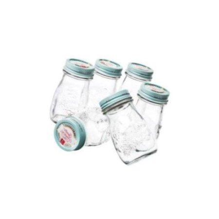 Bormioli Rocco Quattro Stagioni Vintage Glass Bottle With Air-Tight Lid For Home Canning - BPA Free, Food & Heat Safe, Odor & Stain Proof .20 Liter 6.75 Oz Set Of 6 - Clear Blue